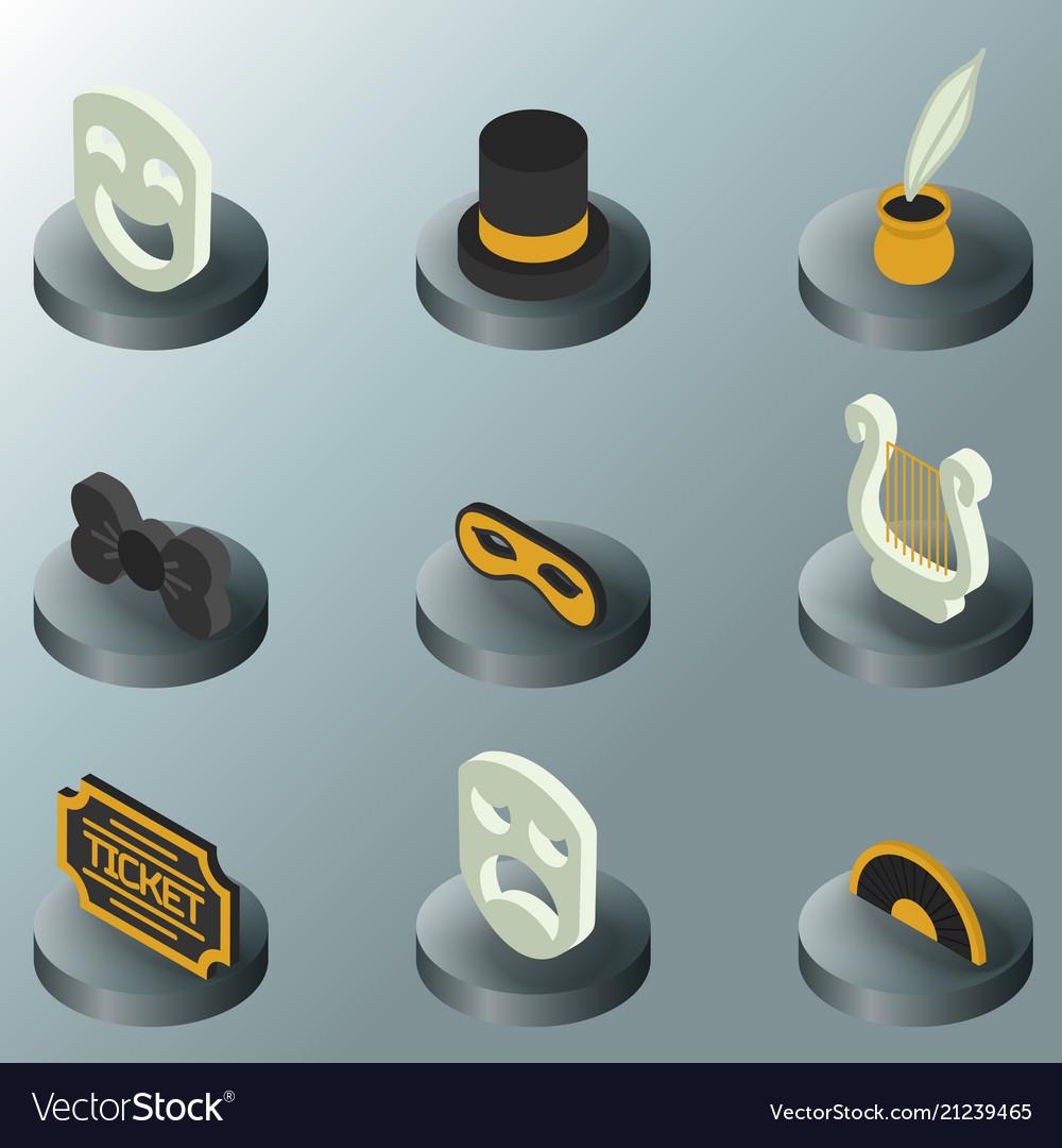 Theatre color isometric icons