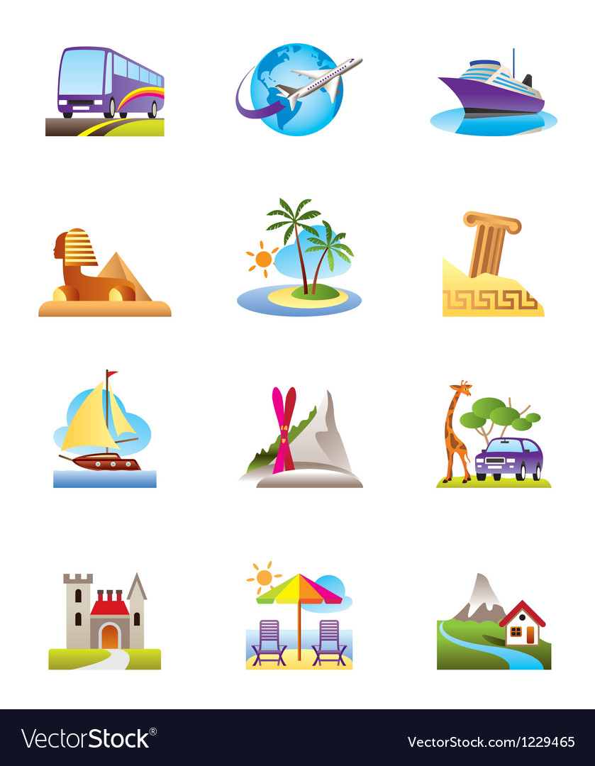 Travel holidays and vacation icons set