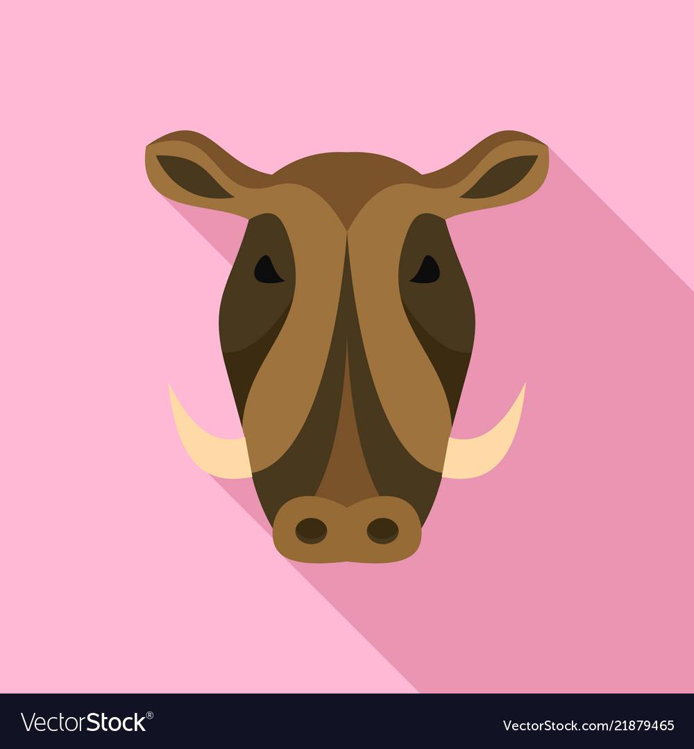 Wild pig icon flat style