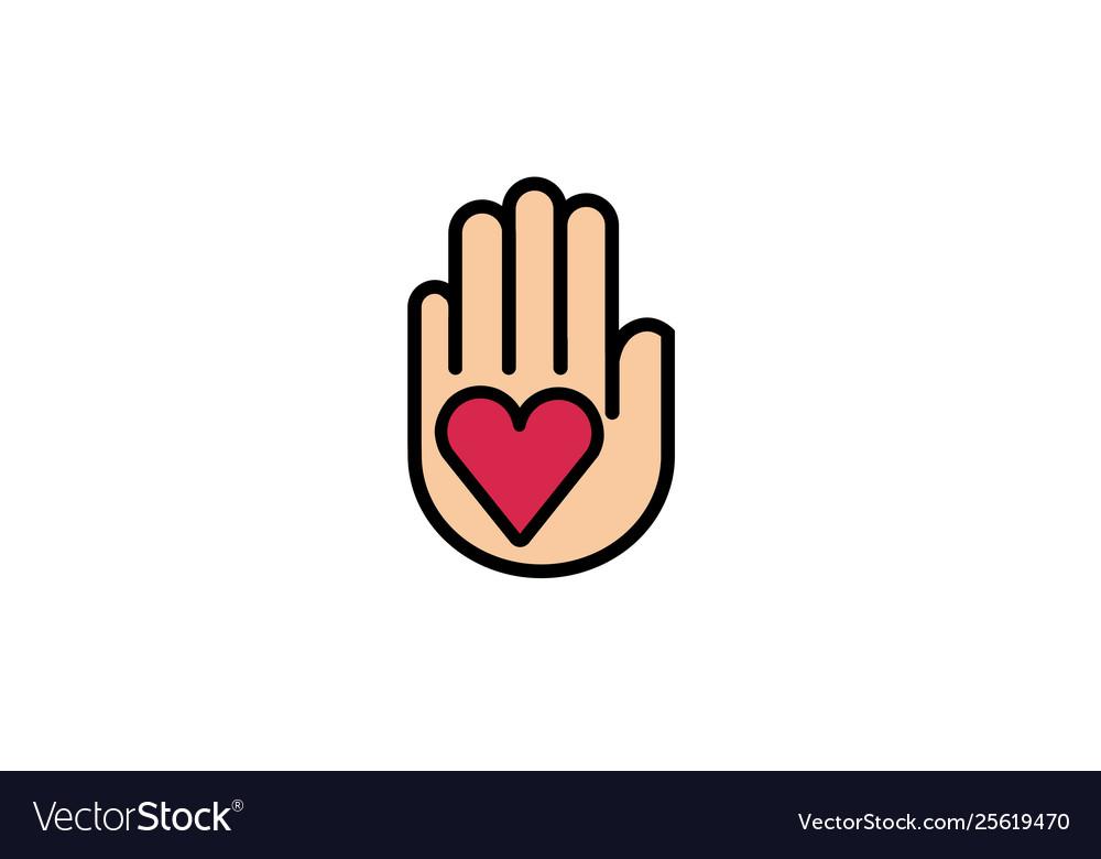 Creative hand palm heart love logo design symbol
