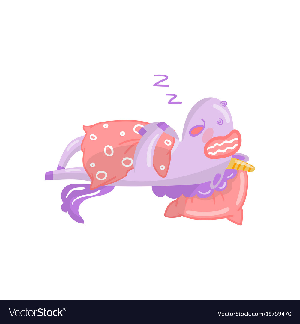 Cute unicorn character sleeping on its bed funny