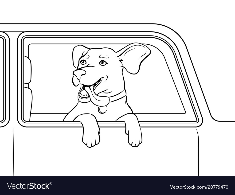 Dog in car window coloring