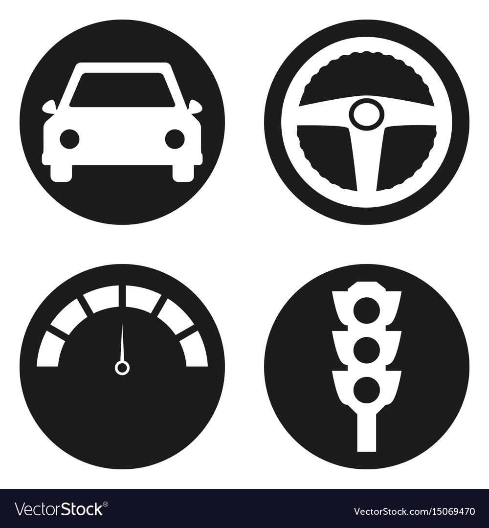 Garage icons set in circle button