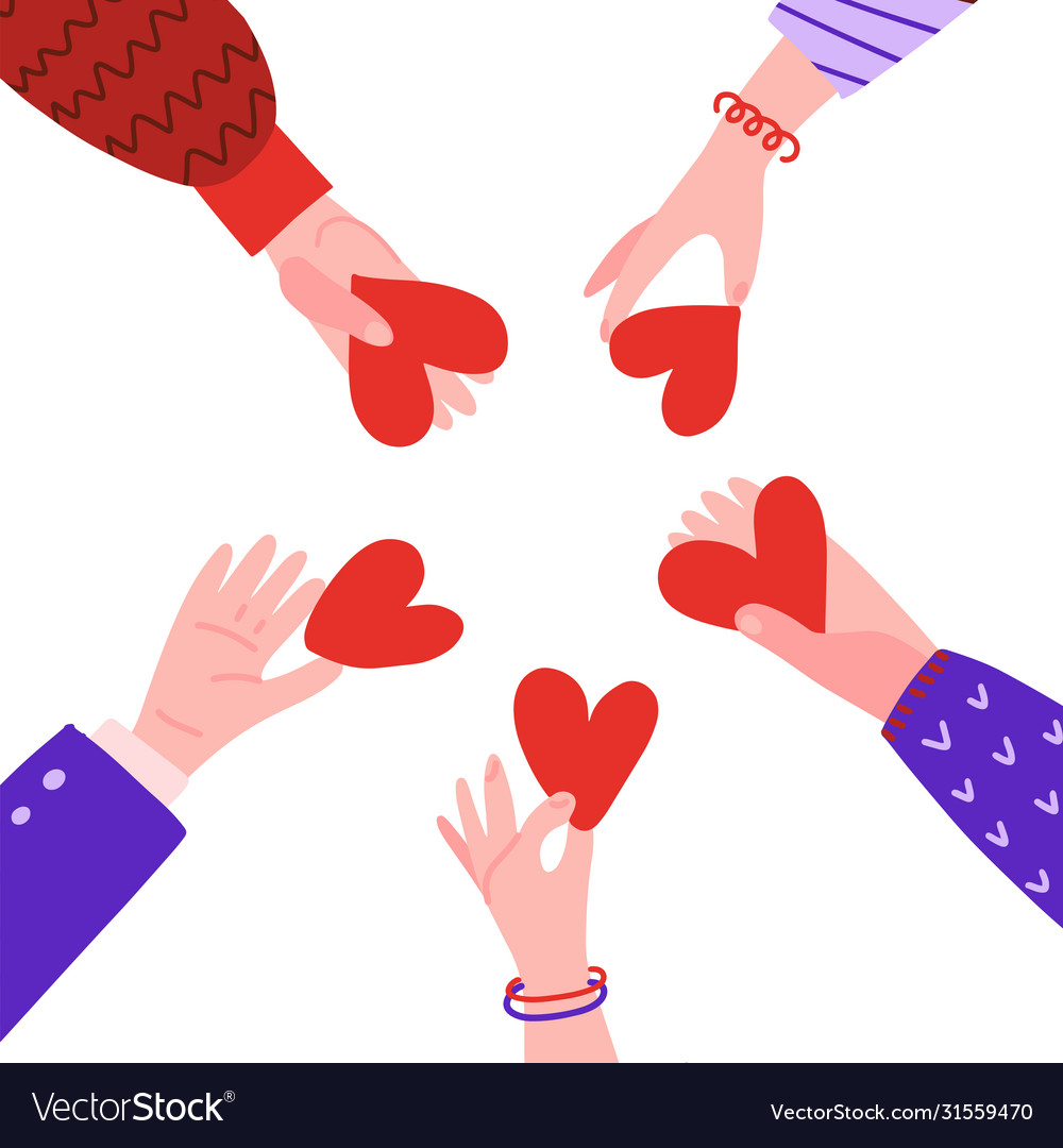 Hands in circle with hearts friendship concept
