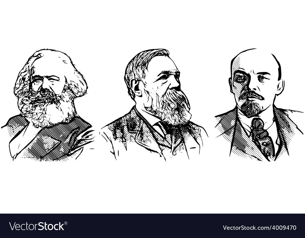 Lenin marx engels vector image