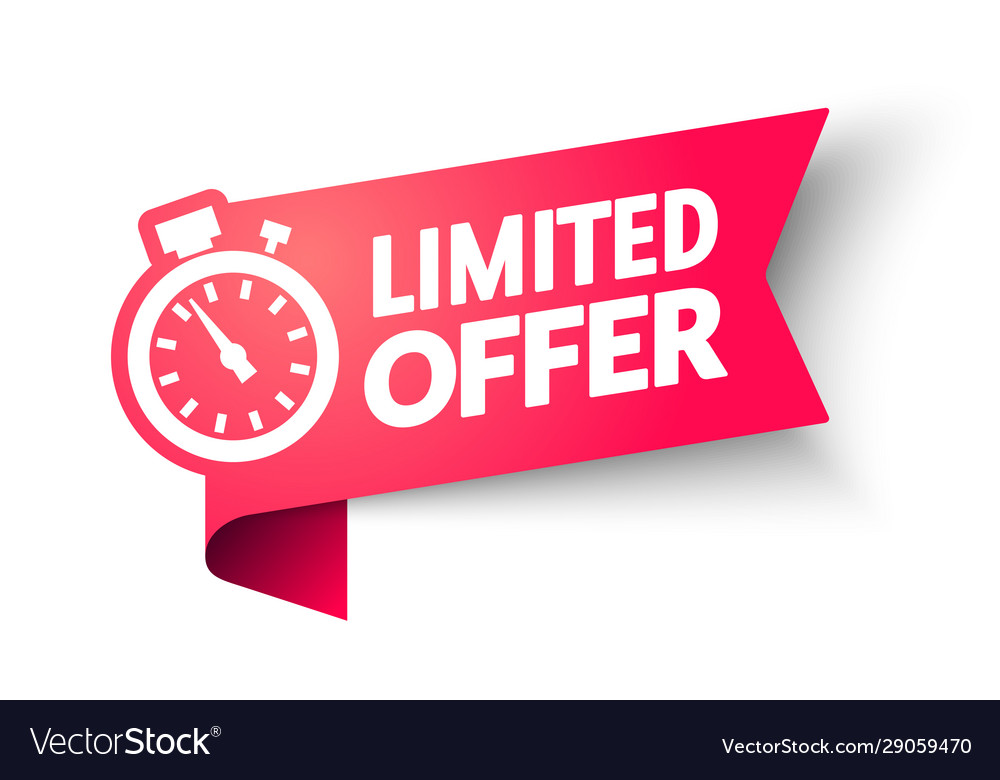 Limited offer banner with clock for promotion