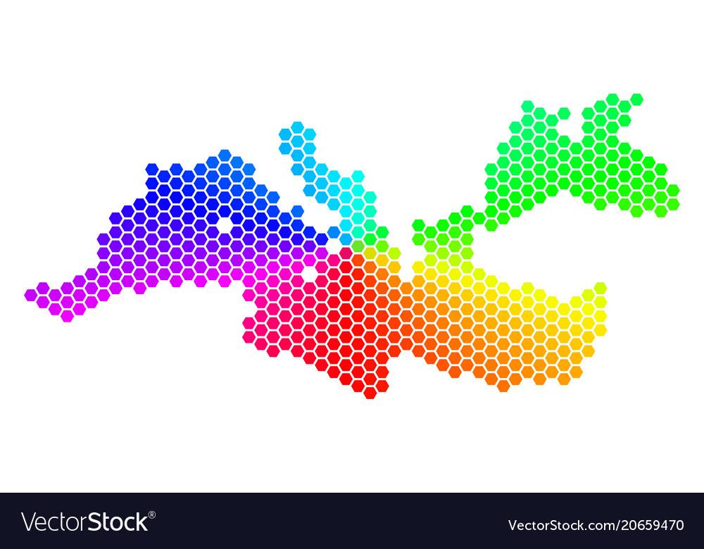 Spectrum hexagon mediterranean sea map