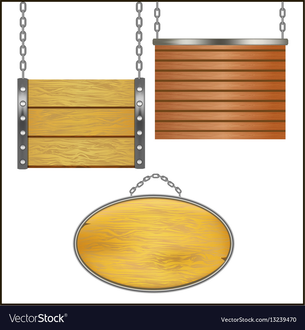 Wooden signs hanging on metal chain set vector image