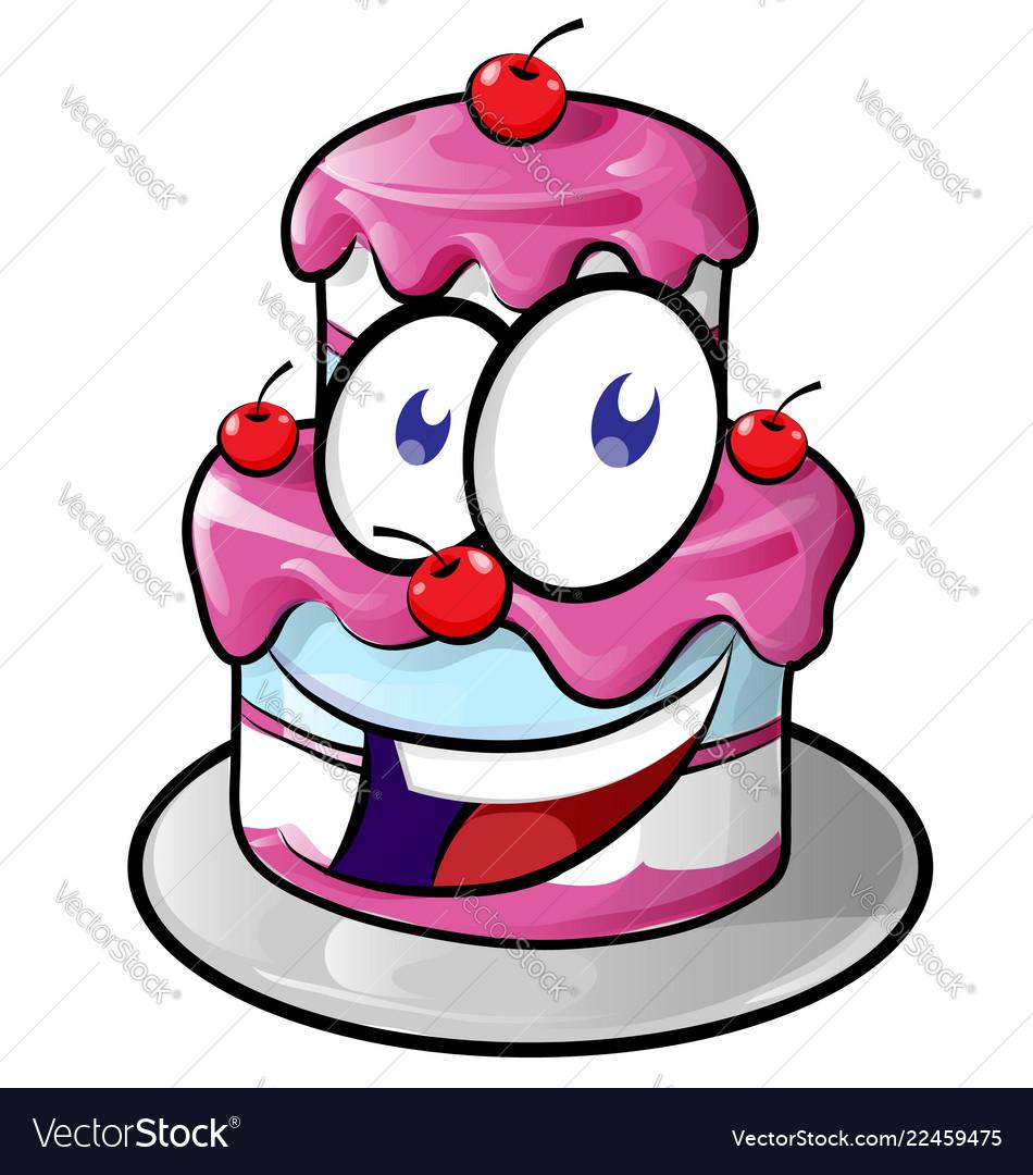 A cute happy cake cartoon