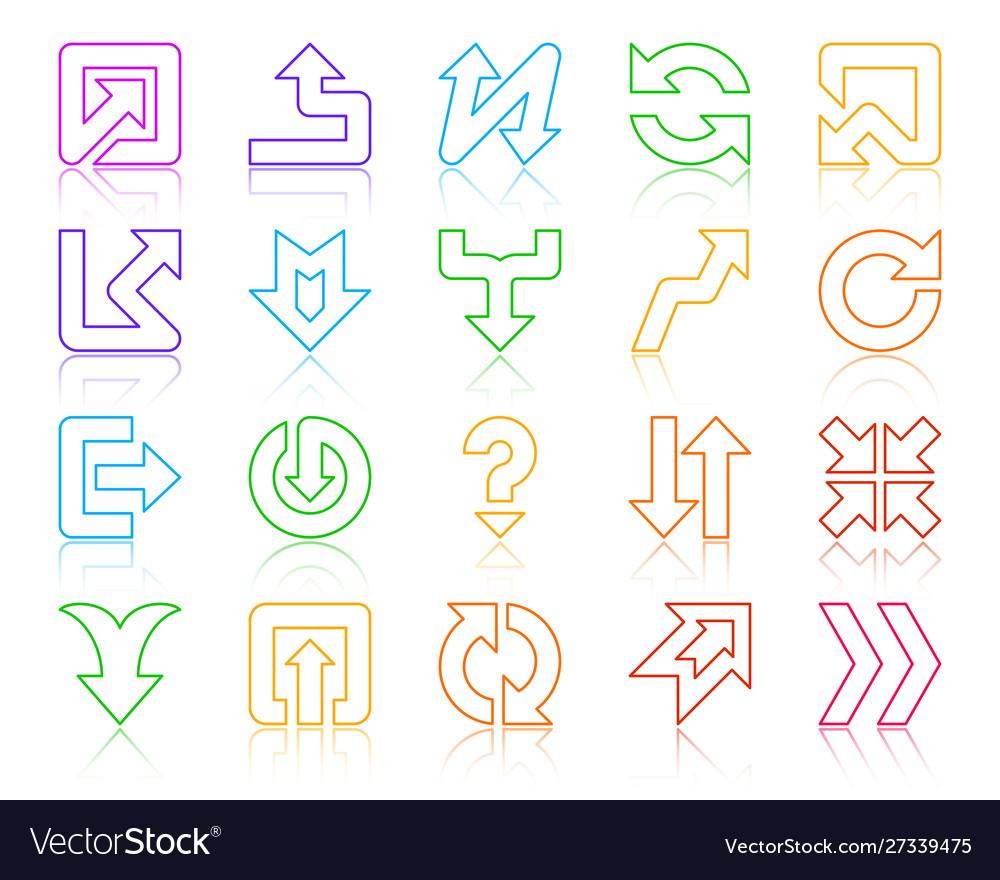 Arrow button simple color line icons set