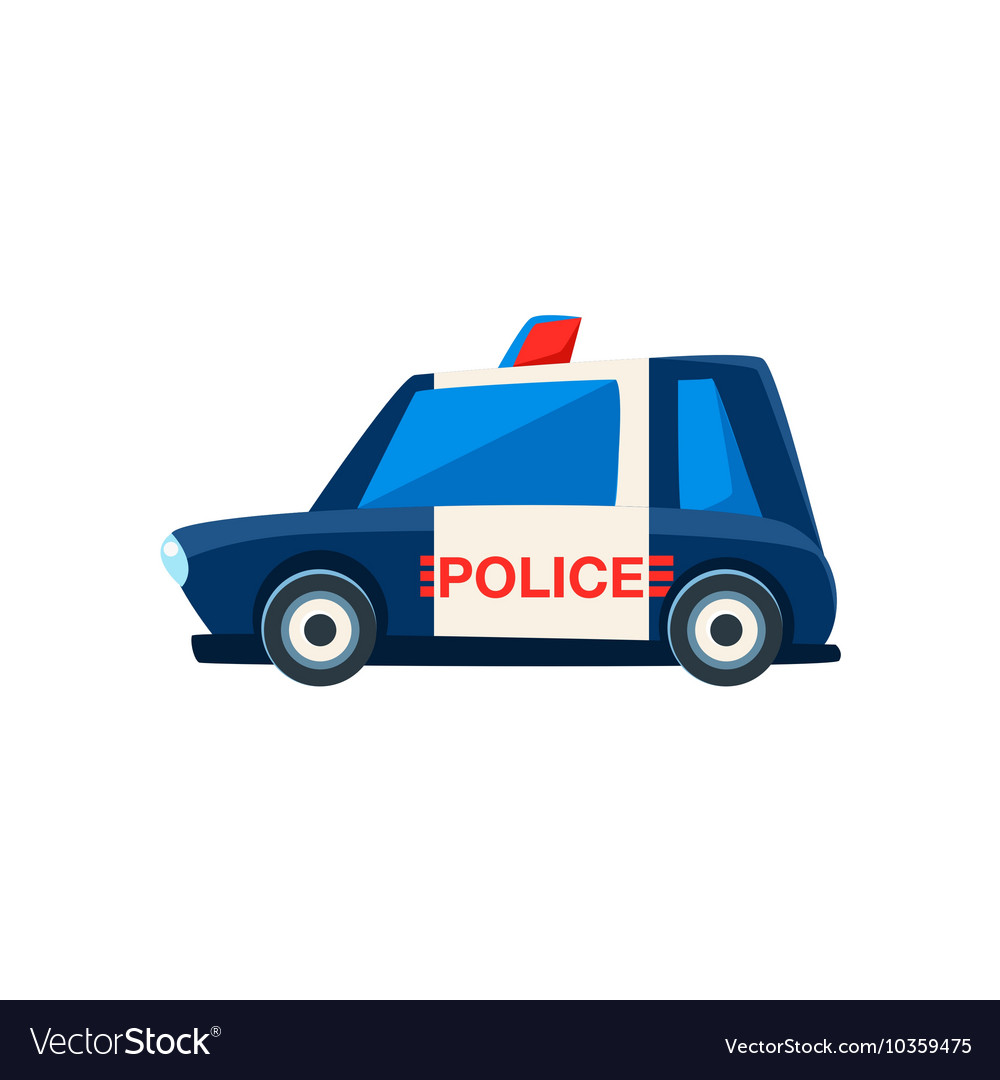 Black And White Police Toy Cute Car Icon