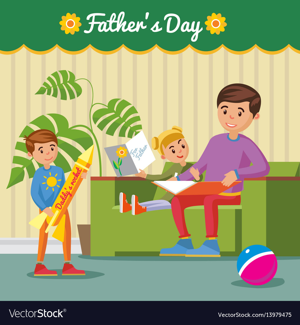 Greeting happy fathers day concept