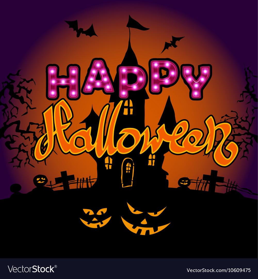 Happy Halloween party text design vector image