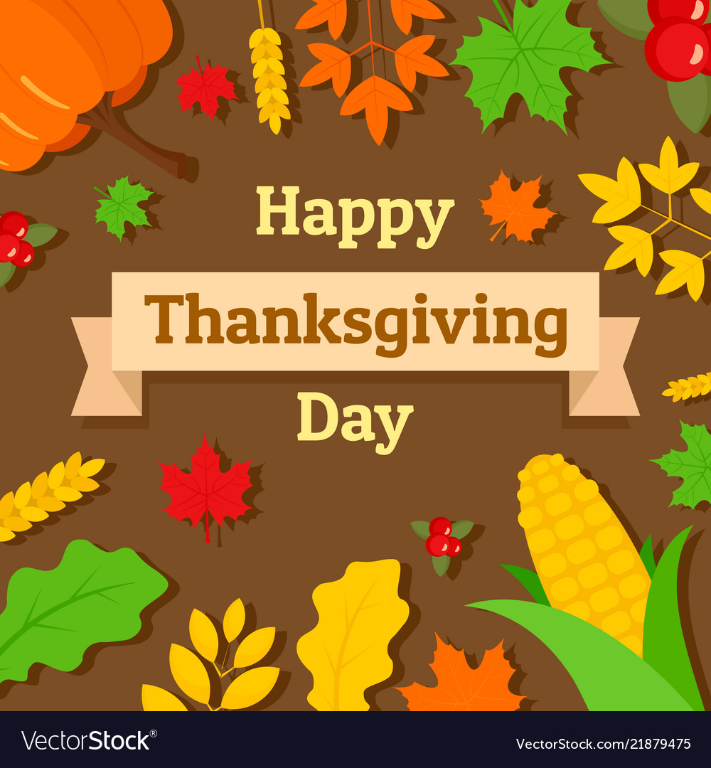 Happy thanksgiving day concept background flat