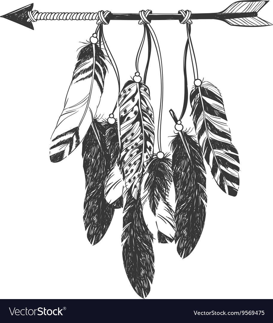 Native American Indian Dreamcatcher with feathers