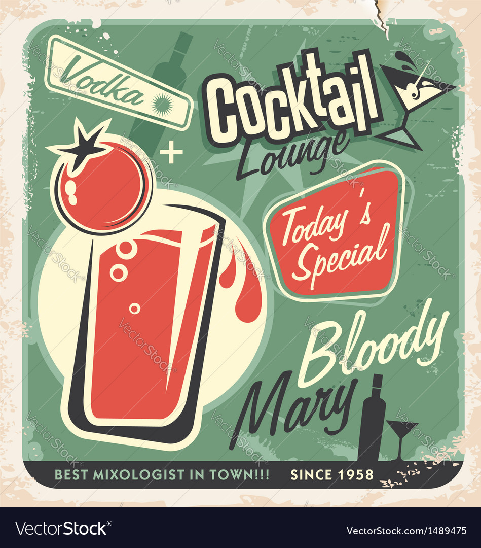 Retro cocktail lounge poster design Bloody Mary