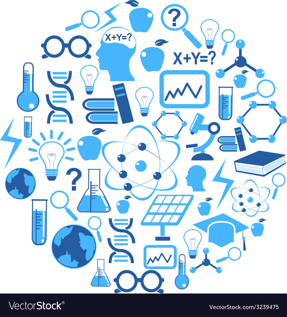 Science icons in circle