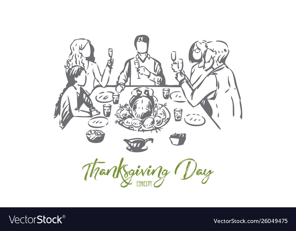 Thanksgiving day concept sketch isolated