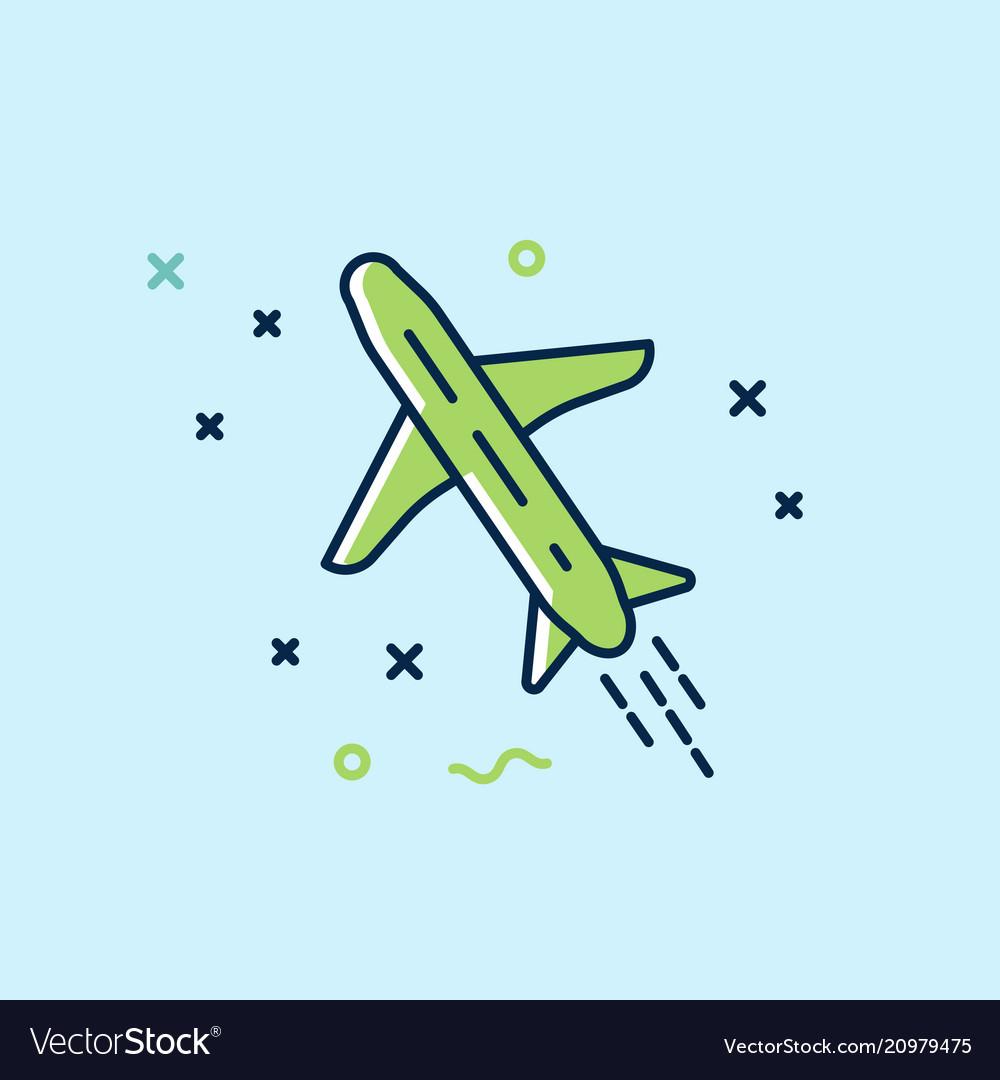 The plane flies icon flat