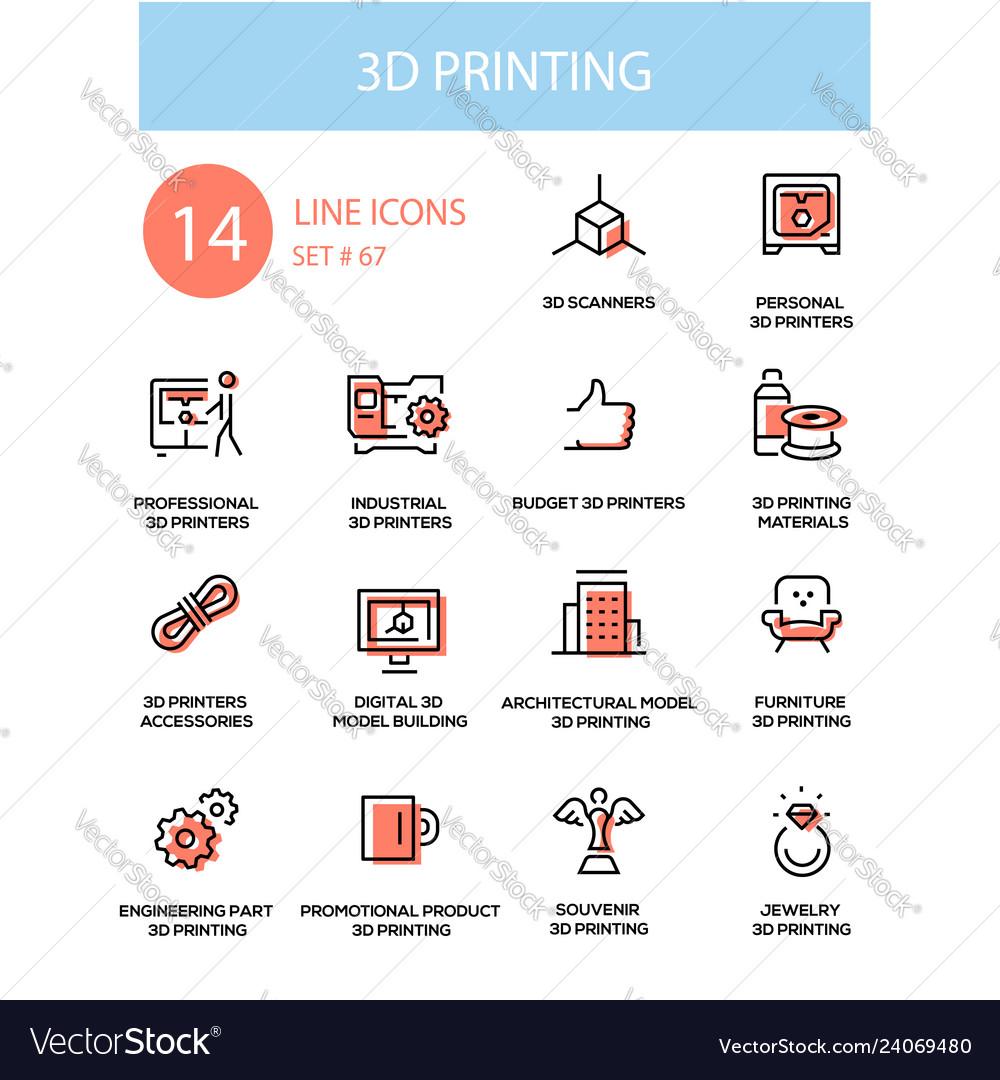 3d printing - line design style icons set