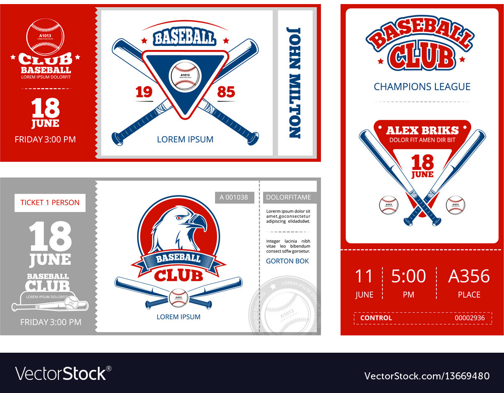 Baseball sports ticket design with vintage