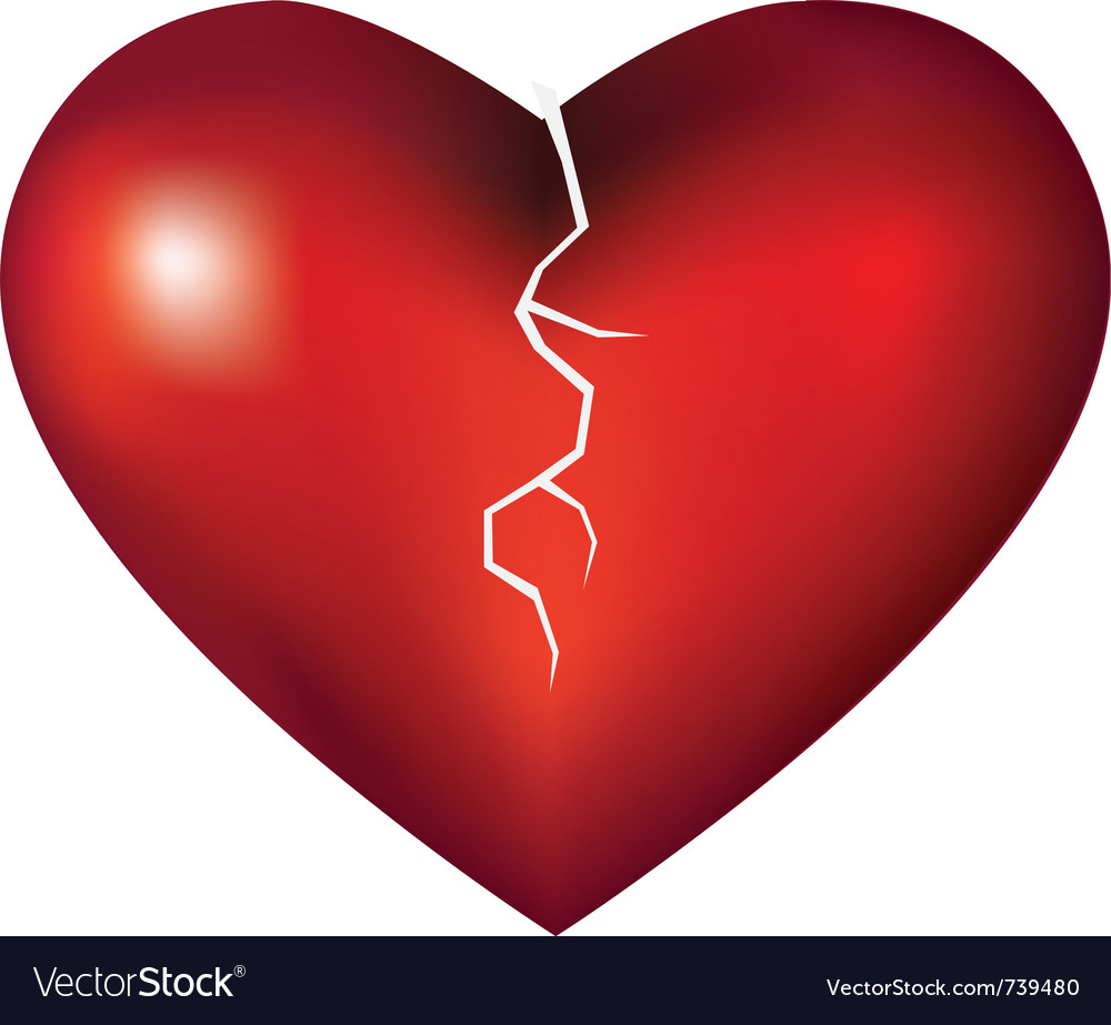 broken heart royalty free vector image vectorstock rh vectorstock com broken heart vector download broken heart vector png