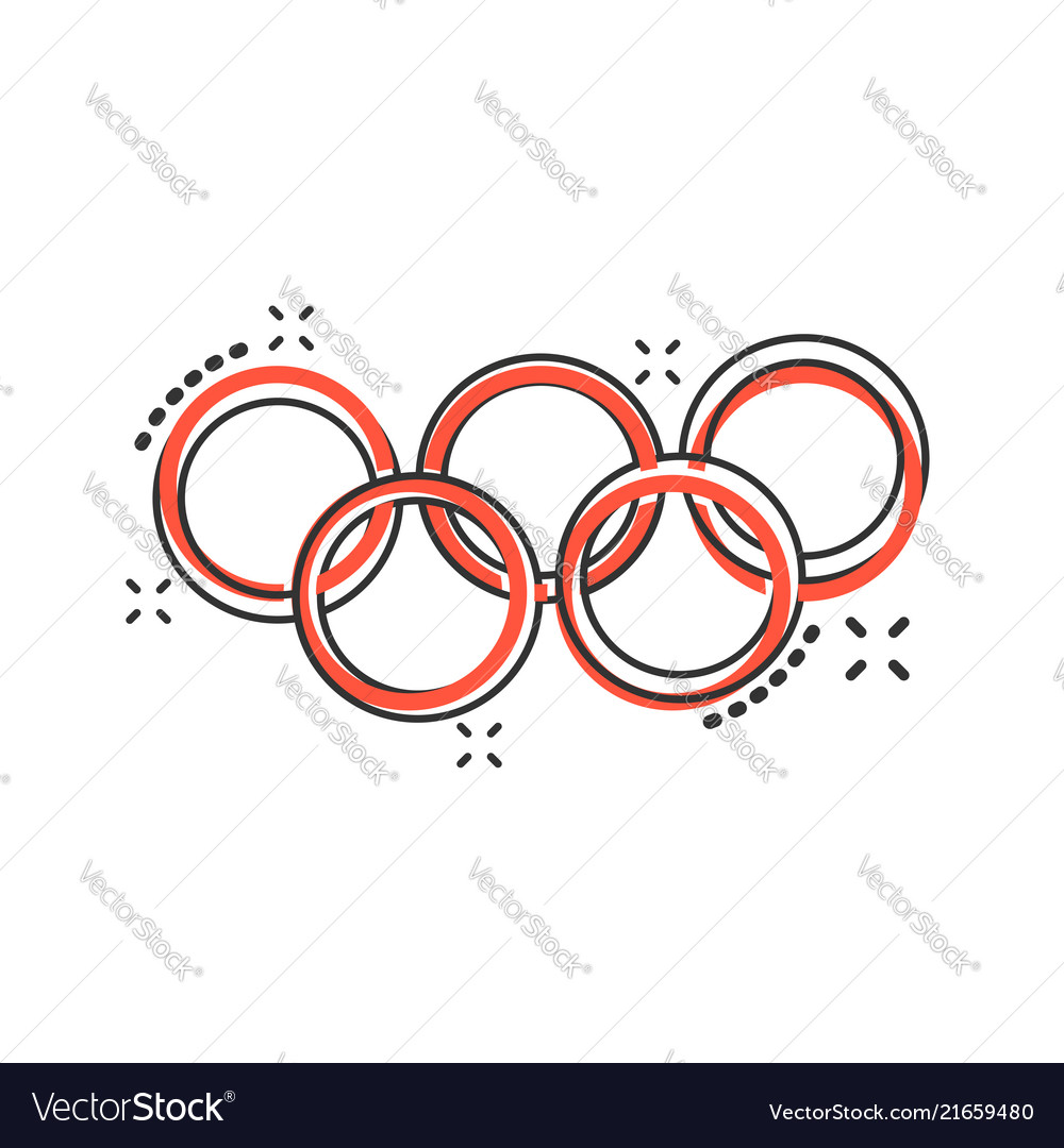 Cartoon olympic games rings icon in comic style
