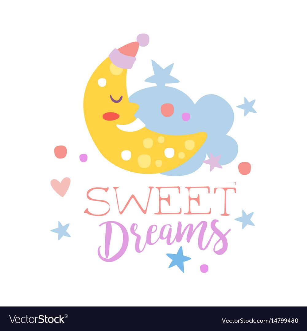 Cute cartoon sleeping crescent and cloud sweet vector image