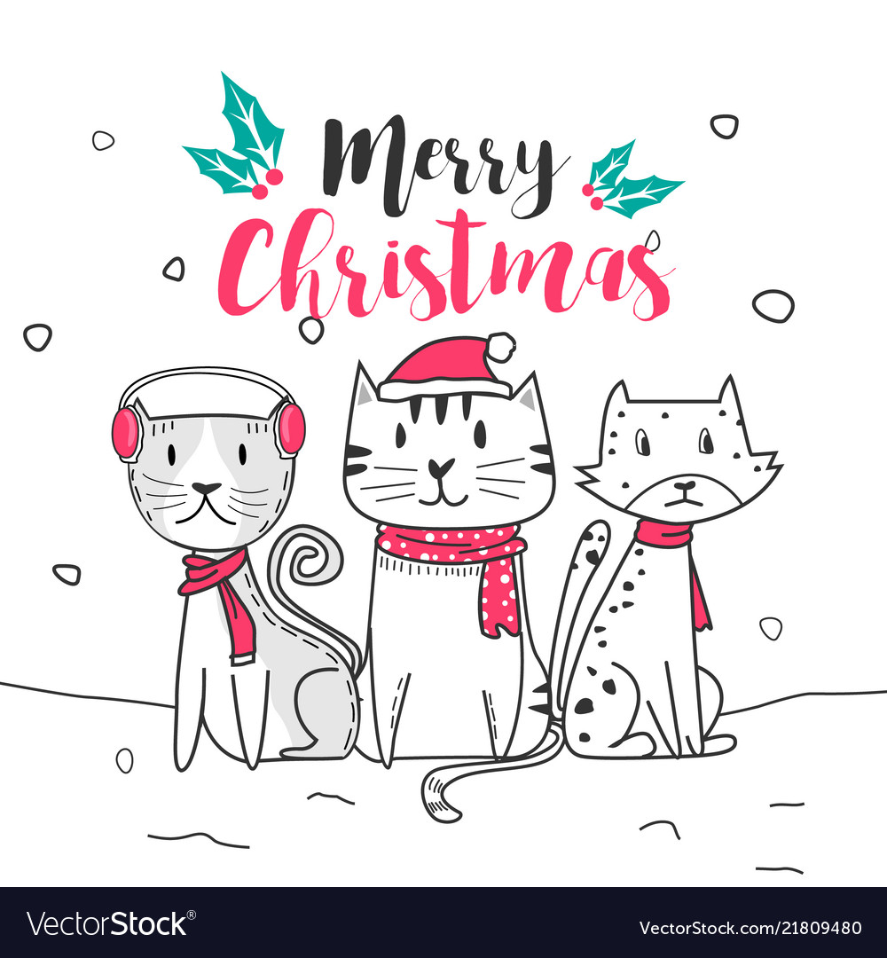 Cute cat and merry christmas with doodle cartoon