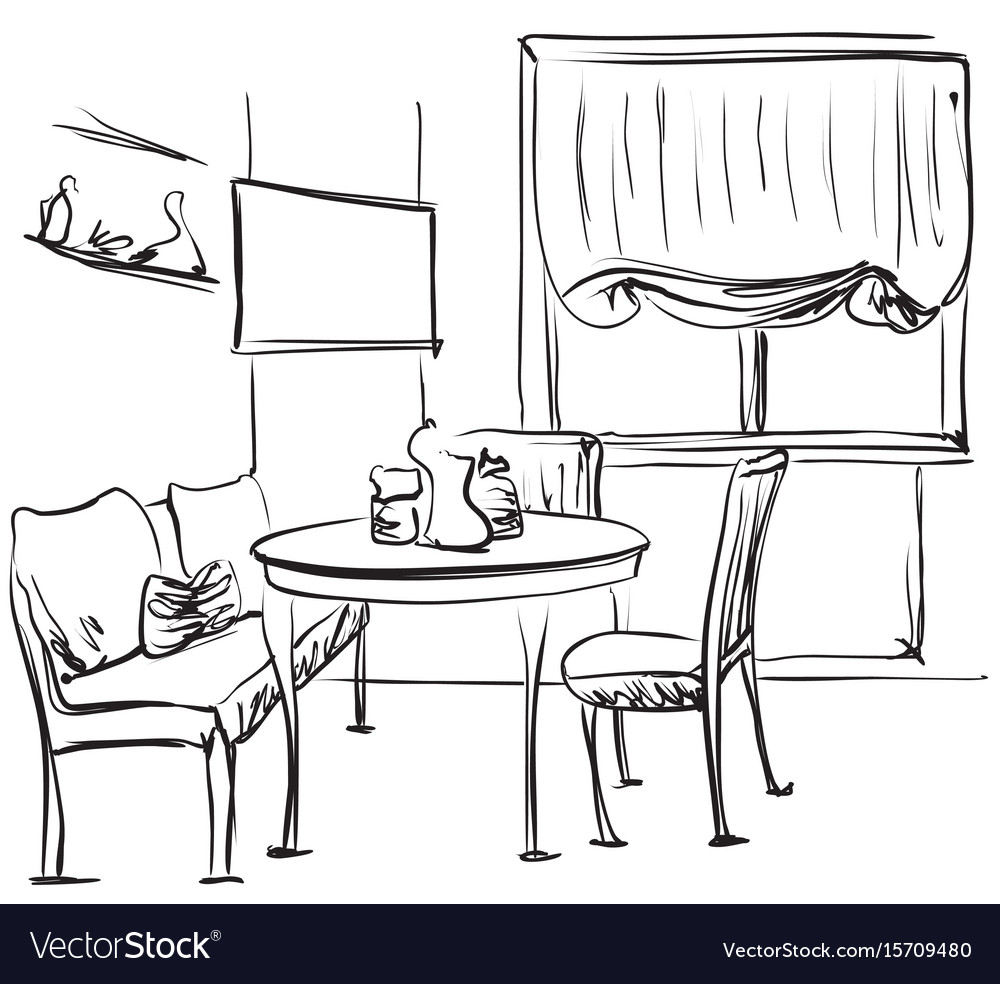 dining table with coffee sketching interior vector image