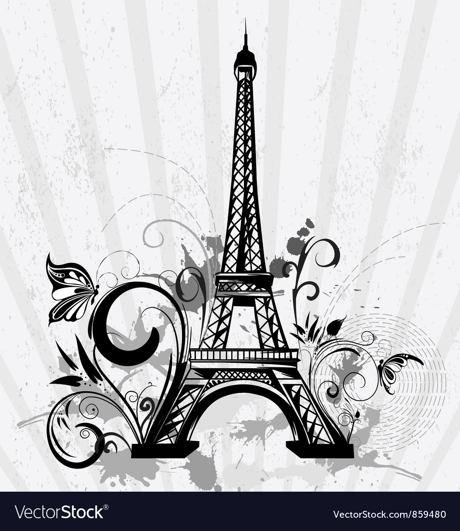 Eiffel tower with floral and grunge