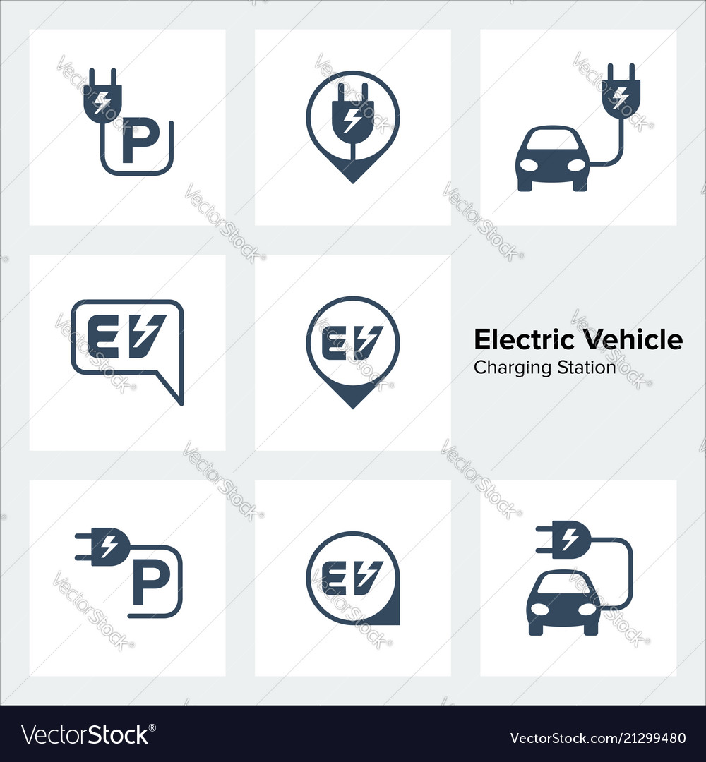 Electric vehicle charging station icons set