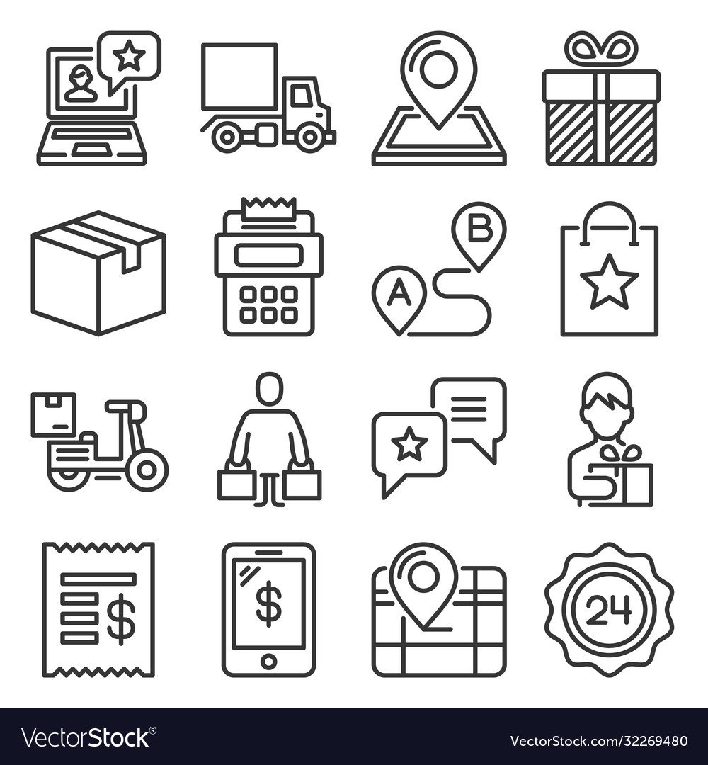 Food delivery icons set on white background line
