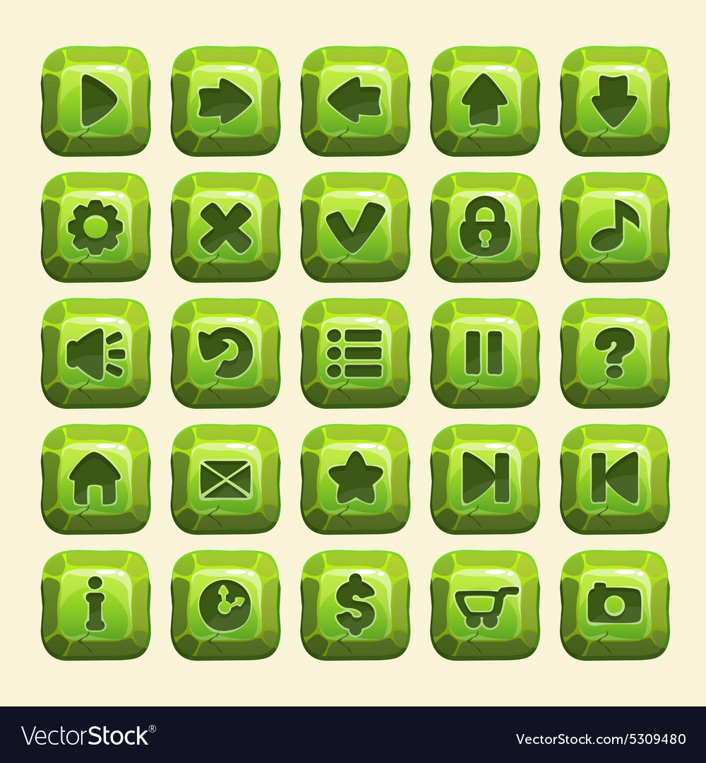 Green stone square buttons