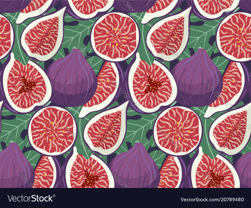 Hand drawn figs fruit seamless pattern doodle