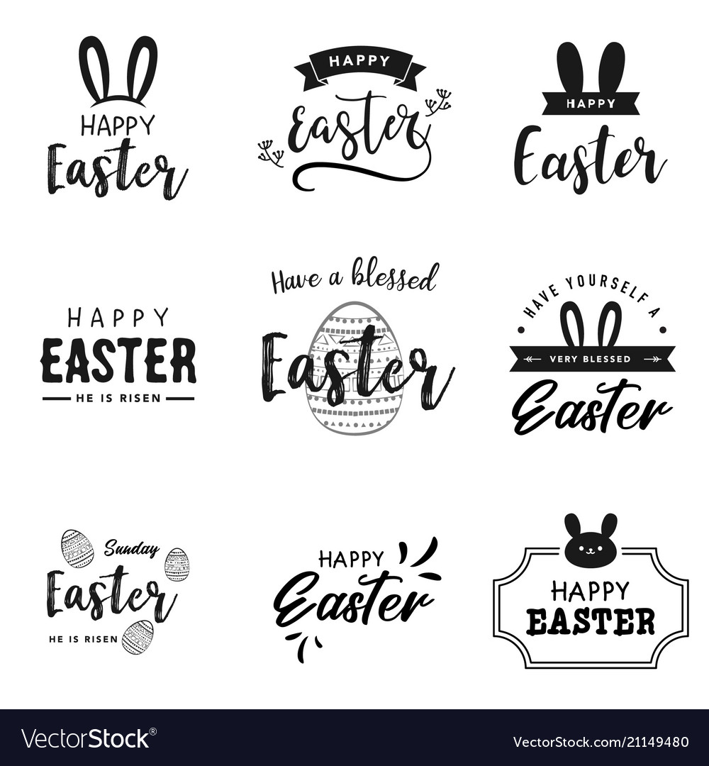 Happy easter lettering logo collection