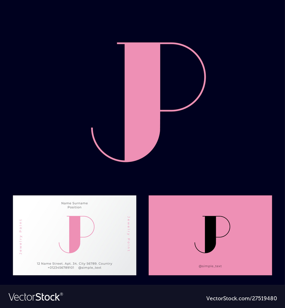 Pink j and p monogram letters logo