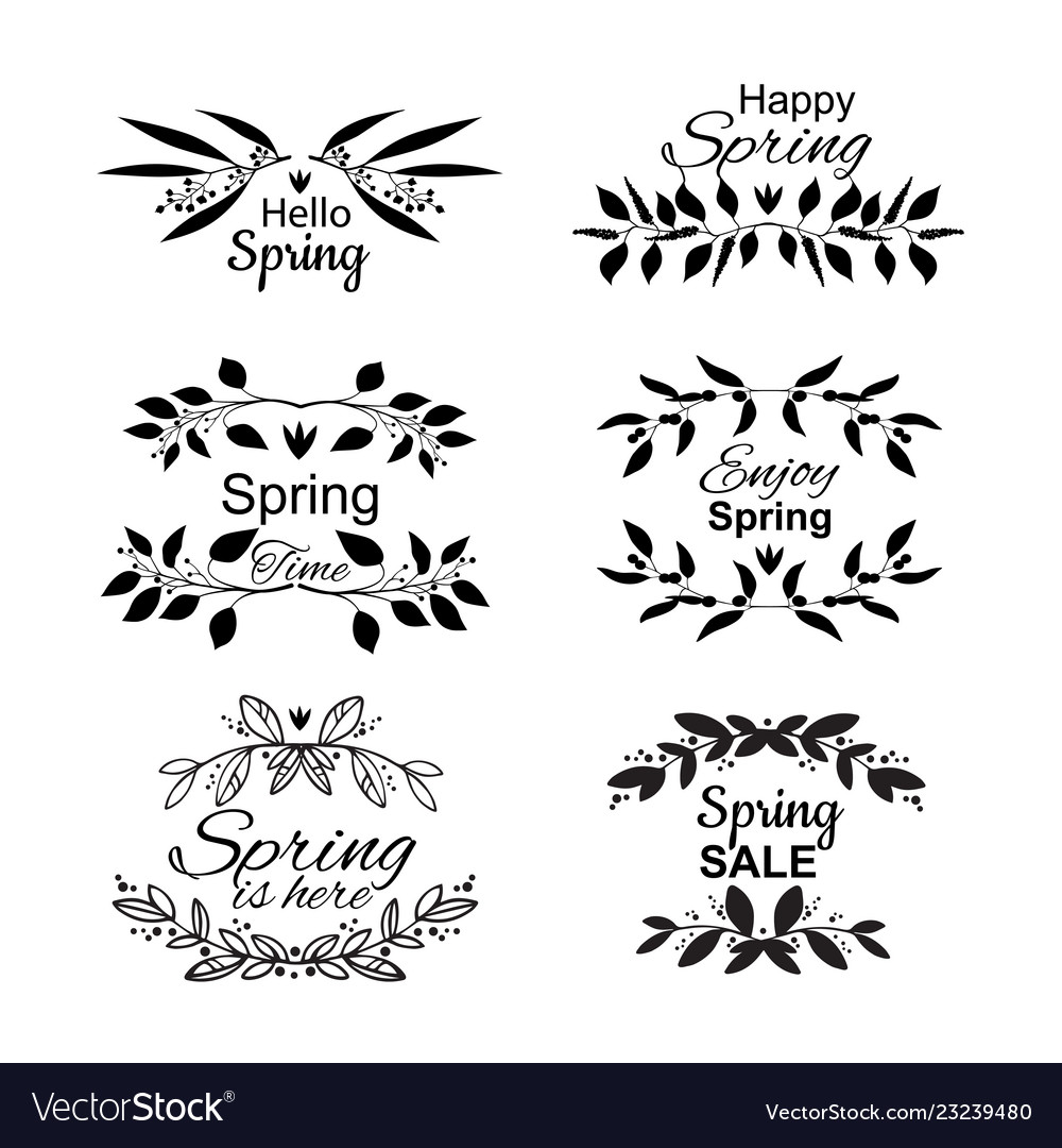 Spring lettering set with decorative elements