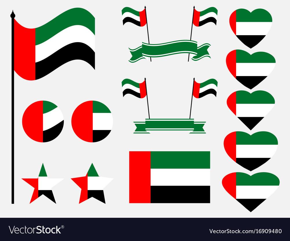 United arab emirates flag set collection