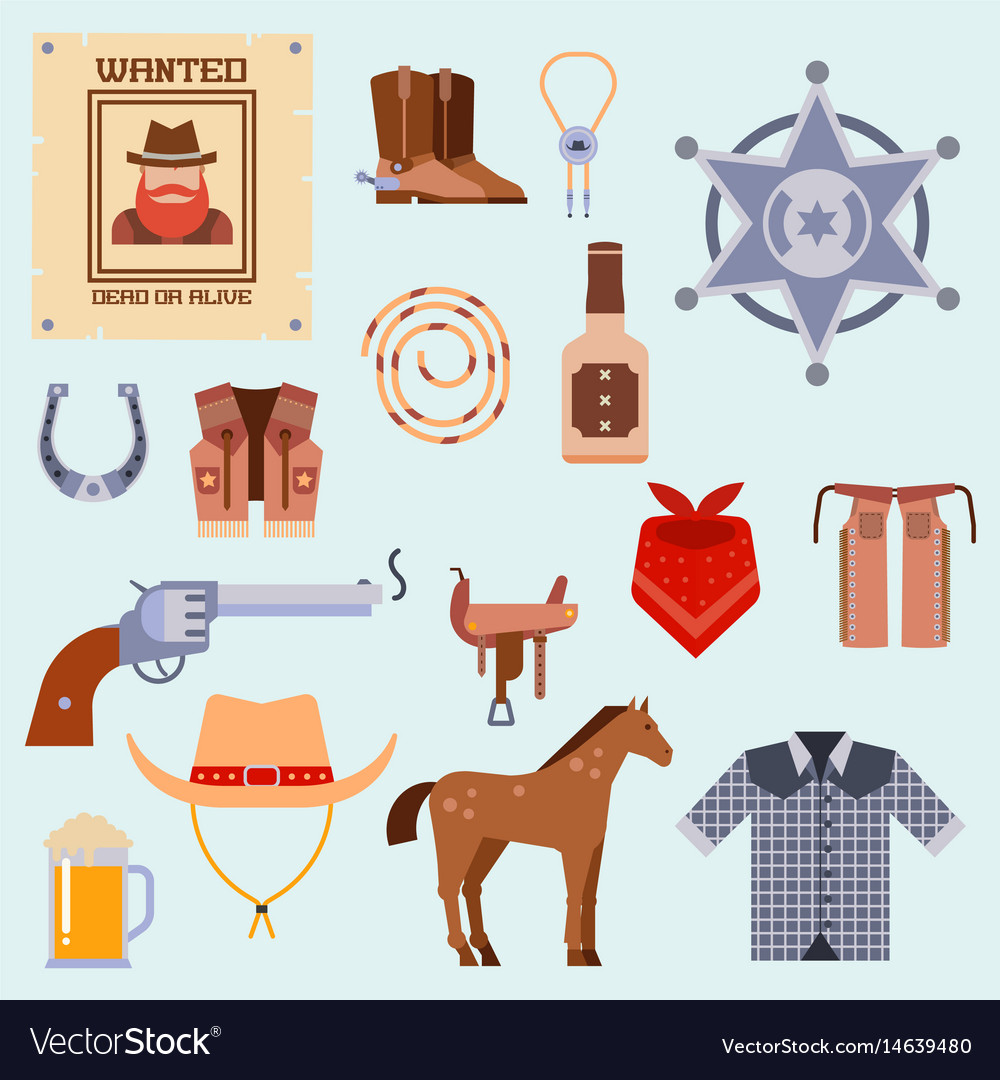 Wild west elements set icons cowboy rodeo