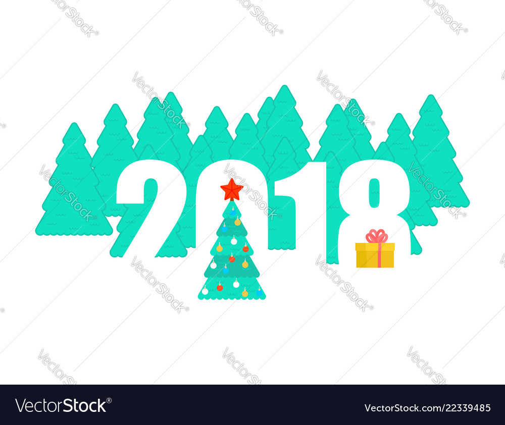 2018 new year template christmas tree and winter