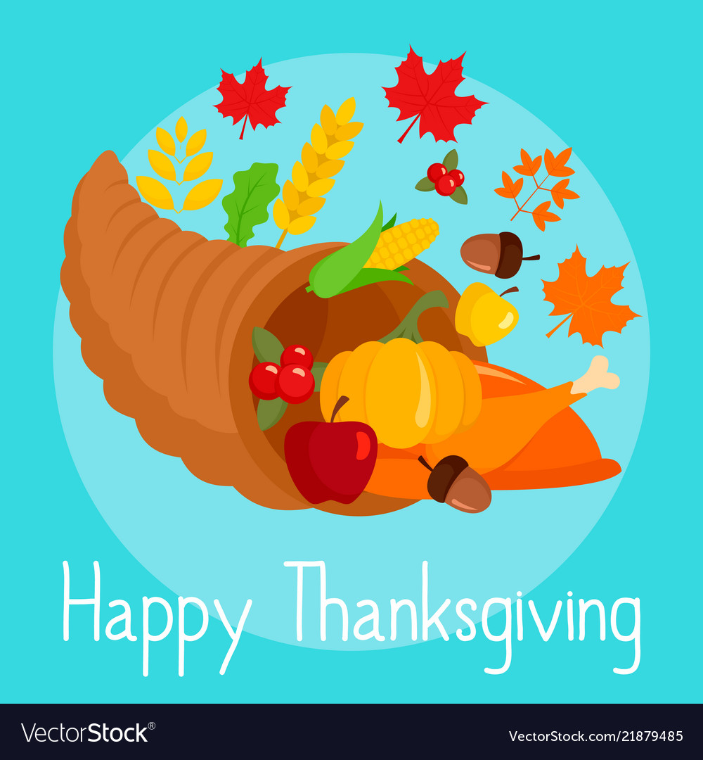Autumn thanksgiving day concept background flat