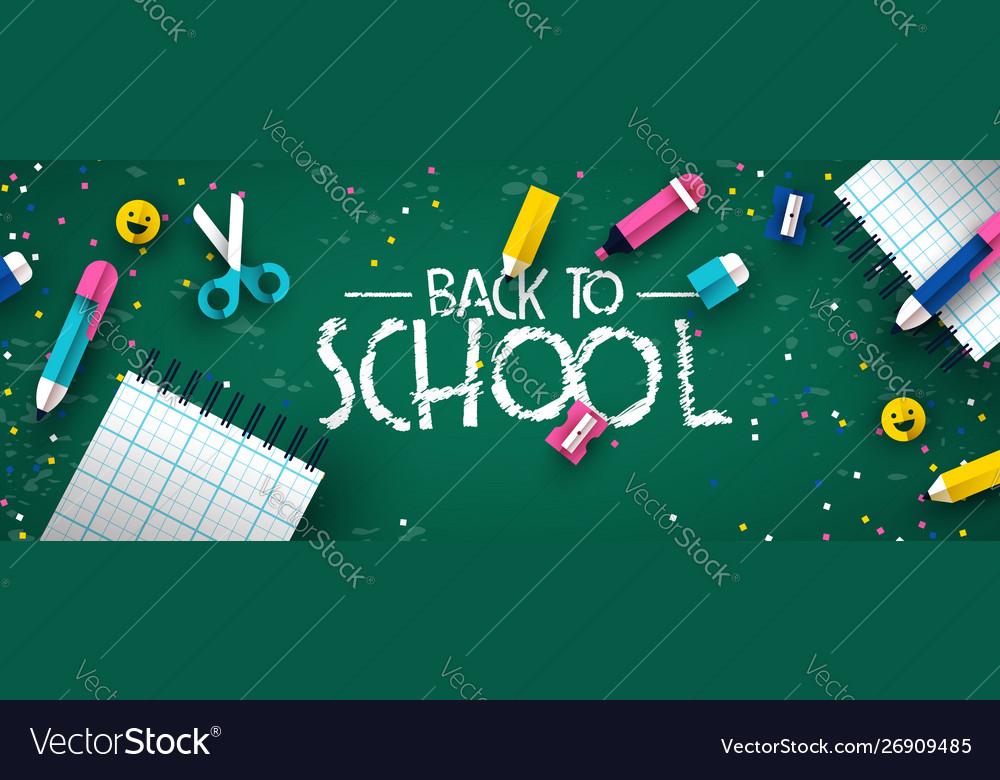 Back to school papercut kid supplies chalk board