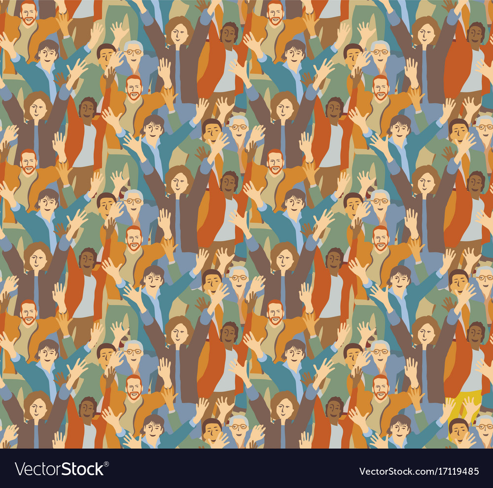 Big crowd happy people seamless pattern