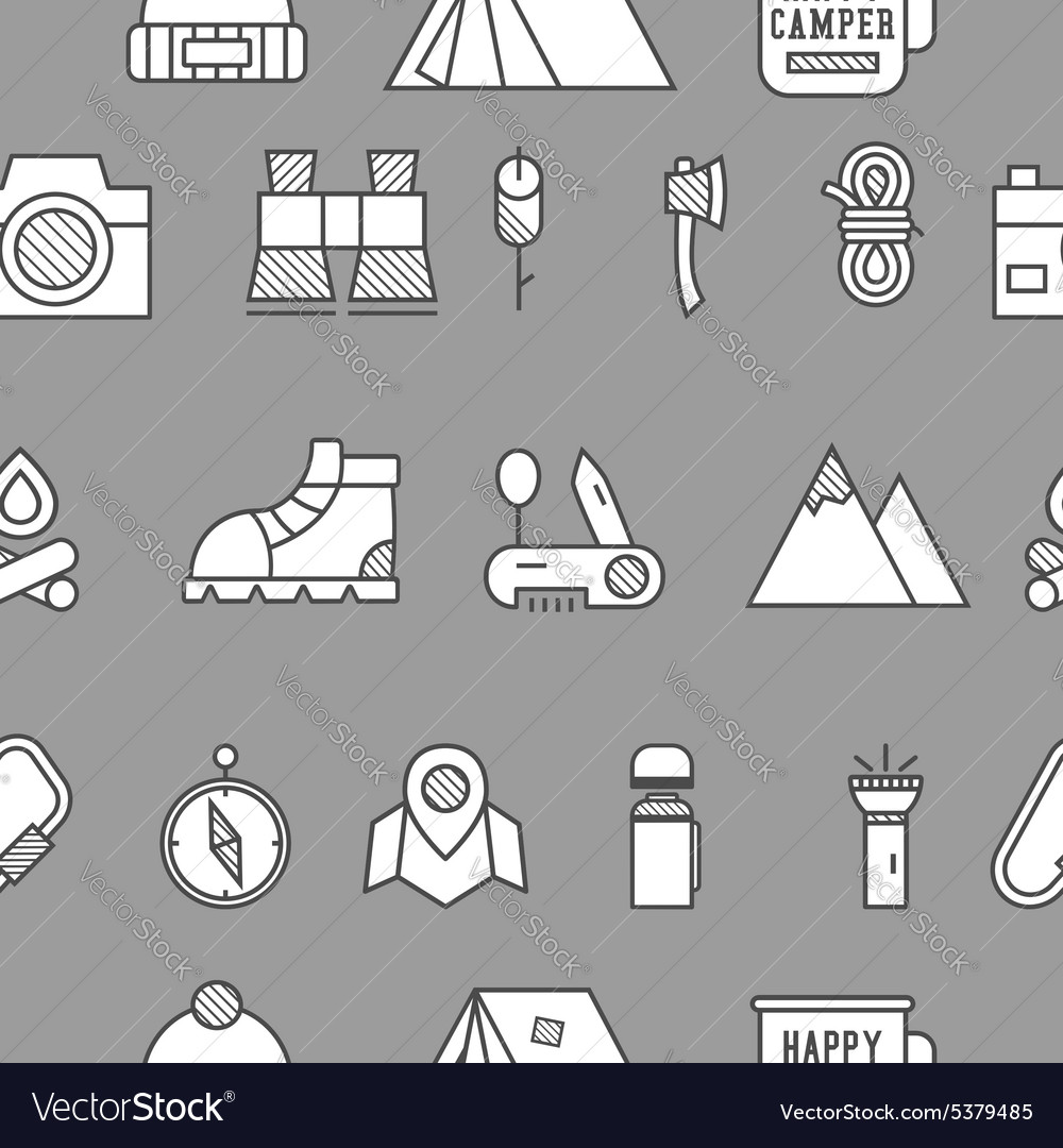 Camping travel seamless pattern with thin line