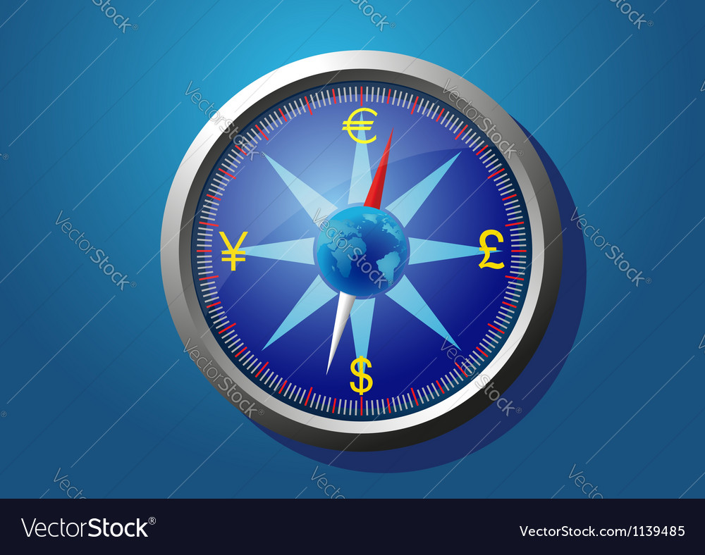 Currency of the world on the compass