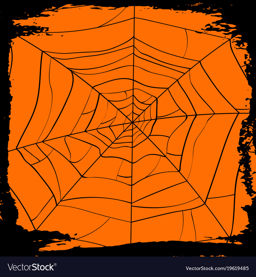 halloween backdrop with creepy cobweb vector image