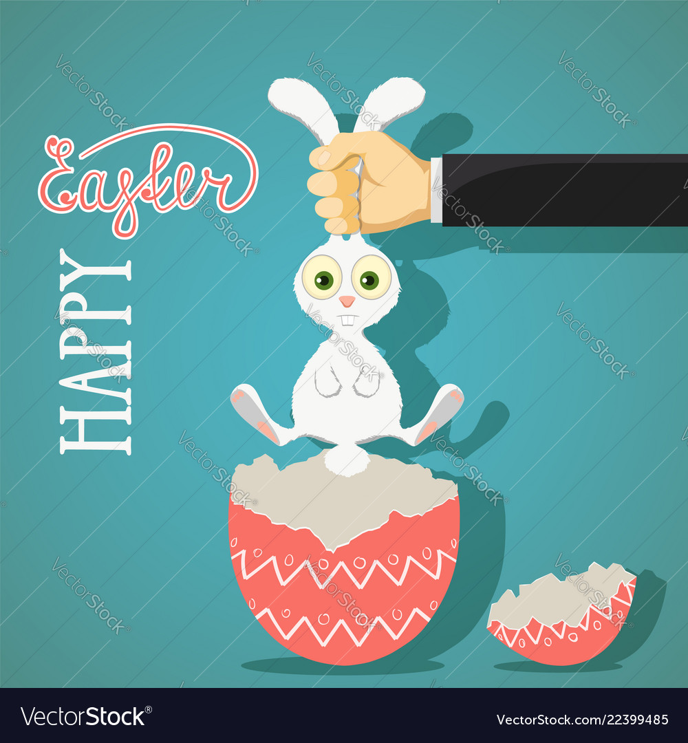 Happy easter greeting card with bunny and egg