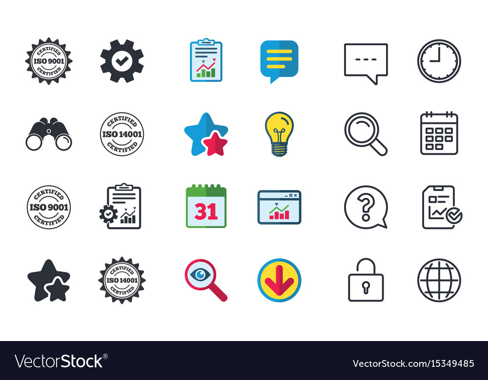 Iso 9001 And 14001 Certified Icon Certification Vector Image