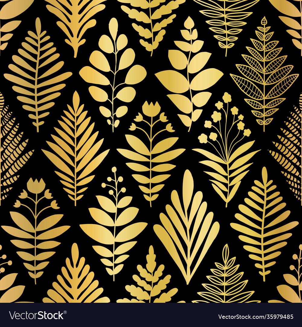 Luxury golden art deco floral pattern nature